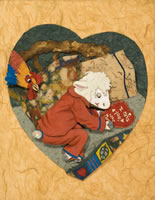 Lamb Boy with Rooster and Heart